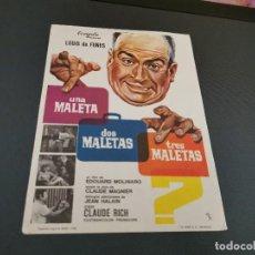 Cine: PROGRAMA DE MANO ORIG - UNA MALETA, DOS MALETAS, TRES MALETAS - SIN CINE . Lote 169452880
