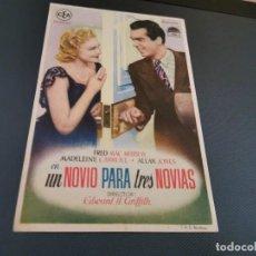 Cine: PROGRAMA DE MANO ORIG - UN NOVIO PARA TRES NOVIAS - SIN CINE . Lote 169454088