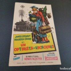 Cine: PROGRAMA DE MANO ORIG - UN OPTIMISTA DE VACACIONES - SIN CINE . Lote 169454264