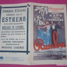 Cine: RUMBA GEORGE RAFT PROGRAMA DE CINE DOBLE. Lote 169468900