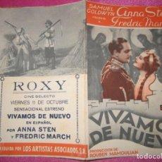 Cine: VIVAMOS DE NUEVO ANNA STEN PROGRAMA DOBLE DE CINE ROXY. Lote 169469548