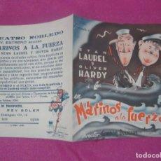 Cine: MARINOS A LA FUERZA PROGRAMA DOBLE DE CINE ROBLEDO EXCELENTE . Lote 169469872