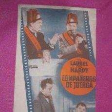 Cine: COMPAÑEROS DE JUERGA LAUREL HARDY PROGRAMA TARJETA RECORTADO .. Lote 169470880