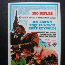 Flyers Publicitaires de films Anciens: 100 RIFLES, JIM BROWN, RAQUEL WELCH, BURT REYNOLDS. Lote 169512396