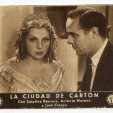 Cine: LA CIUDAD DE CARTÓN, CON CATALINA BÁRCENA, ANTONIO MORENO, MARTÍNEZ SIERRA, GRAN CINEMA DE SANTANDER. Lote 169594952
