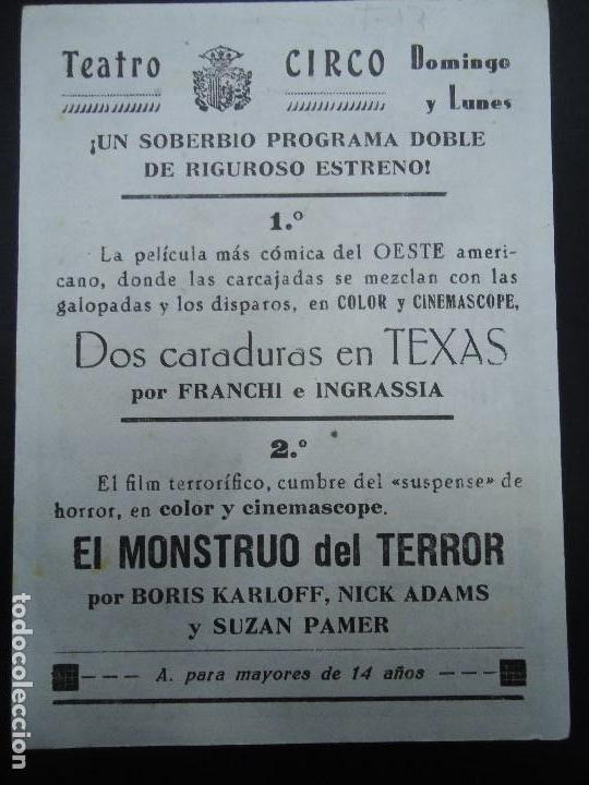 Cine: EL MONSTRUO DE TERROR 1965 BORIS KARLOFF CON PUBLICIDAD DEL TEATRO CIRCO Boris Karloff, Nick Adams, - Foto 2 - 169652916