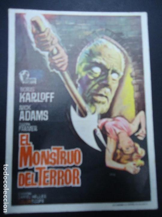 EL MONSTRUO DE TERROR 1965 BORIS KARLOFF CON PUBLICIDAD DEL TEATRO CIRCO BORIS KARLOFF, NICK ADAMS, (Cine - Folletos de Mano - Terror)