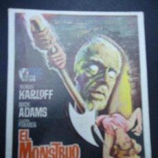 Cine: EL MONSTRUO DE TERROR 1965 BORIS KARLOFF CON PUBLICIDAD DEL TEATRO CIRCO BORIS KARLOFF, NICK ADAMS, . Lote 169652916