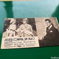 Cine: PROGRAMA DE CINE CARTÓN. JULIETA COMPRA UN HIJO. CINE TEATRO MARÍA LUISA DE MÉRIDA. AÑOS 30. Lote 169658769