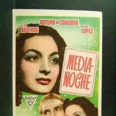 Flyers Publicitaires de films Anciens: MEDIANOCHE-TITO DAVISON-ELSA AGUIRRE-ARTURO DE CORDOVA-MARGA LOPEZ-SELECCIONE VITALLE-BILBAO-AÑOS 40. Lote 169718080