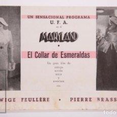 Cine: PROGRAMA DE CINE DOBLE - EL COLLAR DE ESMERALDAS - PIERRE BRASSEUR - MARYLAND - UFA, AÑOS 30. Lote 169966644