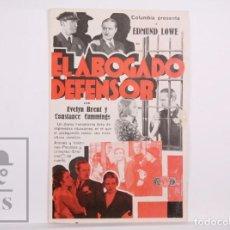 Cine: PROGRAMA DE CINE SIMPLE - EL ABOGADO DEFENSOR - EDMUND LOWE - COLUMBIA, 1933. Lote 169969064