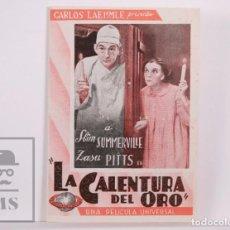 Cine: PROGRAMA DE CINE DOBLE - LA CALENTURA DEL ORO - MICKEY ROONEY / SLIM SUMMERVILLE - UNIVERSAL, 1935. Lote 169969708