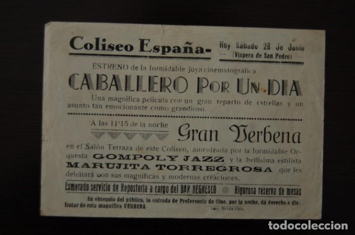 Cine: CABALLERO POR UN DÍA. Cine COLISEO ESPAÑA - Foto 2 - 170318228