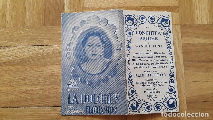 PROGRAMA DE CINE DOBLE / CANCIONERO - LA DOLORES - FLORIAN REY / CONCHITA PIQUER - CIFESA, 1940 - (Cine - Folletos de Mano - Clásico Español)