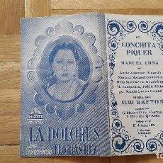 Cine: PROGRAMA DE CINE DOBLE / CANCIONERO - LA DOLORES - FLORIAN REY / CONCHITA PIQUER - CIFESA, 1940 -. Lote 170357060