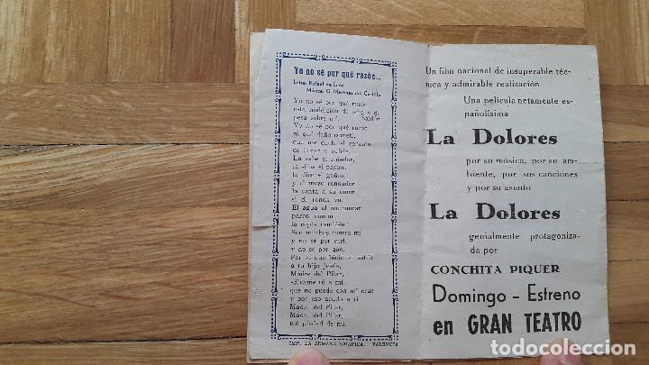 Cine: Programa de Cine Doble / Cancionero - La Dolores - Florian Rey / Conchita Piquer - CIFESA, 1940 - - Foto 2 - 170357060