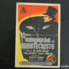 Flyers Publicitaires de films Anciens: LA VENGANZA DE MONTECRISTO, (1947). IDEAL CINEMA EN ELDA.. Lote 170405384