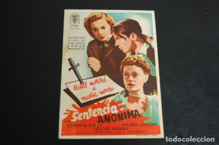 SENTENCIA ANÓNIMA (Cine - Folletos de Mano - Bélicas)