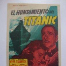 Cine: PROGRAMA DE CINE. EL HUNDIMIENTO DEL TITANIC. SIN PUBLICIDAD. . Lote 170519036
