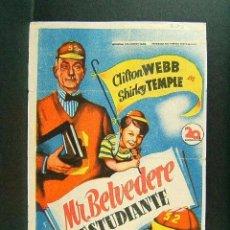 Cine: MR. BELVEDERE ESTUDIANTE-ELLIOT NUGENT-CLIFTON WEBB-SHIRLEY TEMPLE-CINE MERCANTIL-BAÑOLAS-1949.. Lote 274415148