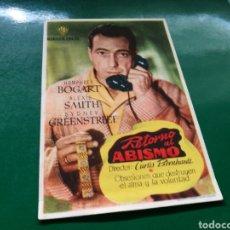 Folhetos de mão de filmes antigos de cinema: PROGRAMA DE CINE. RETORNO AL ABISMO, HUMPHREY BOGART. CON PUBLICIDAD DEL CINEMA ALHAMBRA ZARAGOZA. Lote 170546910