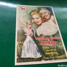 Cine: PROGRAMA DE CINE. AQUELLA NOCHE EN RÍO. Lote 170548344
