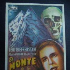 Cine: EL MONTE DE LOS MUERTOS 1932 LENI RIEFFENSTAHL, MATTIAS WIEMANN ARAJOL SENCILLO PIE SESOR BARCELONA. Lote 170554384