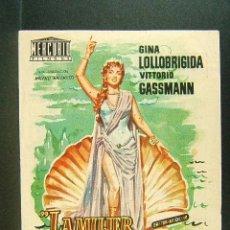 Cine: LA MUJER MAS GUAPA DEL MUNDO-R.Z.LEONARD-GINA LOLLOBRIGIDA-VITTORIO GASSMANN-CINE NOVEDADES-AÑOS 50.. Lote 170555896