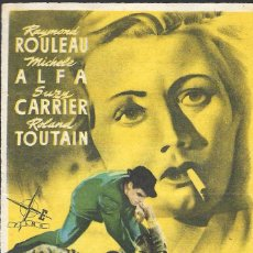 Cine: PROGRAMA DE CINE - LA AVENTURA ESTÁ EN LA ESQUINA - RAYMOND ROULEAU - IDEAL CINEMA (LUCENA) - 1953.. Lote 170602985