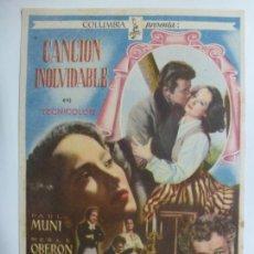 Cine: PROGRAMA DE CINE. CANCIÓN INOLVIDABLE. SIN PUBLICIDAD. . Lote 170624955