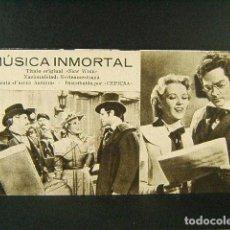 Cine: MUSICA INMORTAL-NEW WINE-REINHOLD SCHUNZEL-ALAN-CURTIS-ILONA MASSEY-Nº 213 ACARTONADO-AÑOS 40. . Lote 170825695