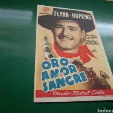 Cine: PROGRAMA DE CINE. ORO, AMOR Y SANGRE. PUBLICIDAD CHOCOLATES PLAMY DE VALENCIA. Lote 170851358