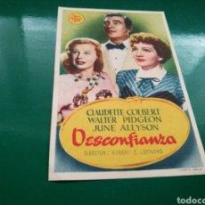 Cine: PROGRAMA DE CINE. DESCONFIANZA. Lote 170867685