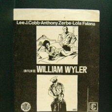 Cine: NO SE COMPRA EL SILENCIO-WILLIAM WYLER-ILUSTRA JANO-CINES OLIMPIA Y MUNDIAL-LA BISBAL D'EMPORDA-1972. Lote 170943130