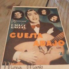 Cine: ANTIGUO PROGRAMA CINE CUESTA ABAJO CARLOS GARDEL PARAMOUNT. Lote 170966503