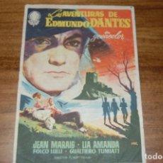 Flyers Publicitaires de films Anciens: LAS AVENTURAS DE EDMUNDO DANTES, TEATRO Y CINEMA CHAPI VILLENA. Lote 170988218