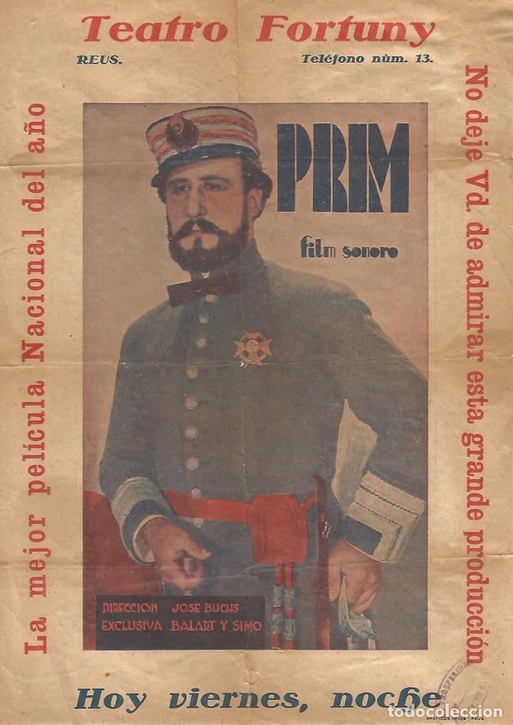 CARTEL ORIGINAL CINE PELICULA PRIM FILM SONORO AÑO 1930 B N TEATRO FORTUNY REUS 1931 GRAFICAS NAVAS (Cine - Folletos de Mano - Clásico Español)