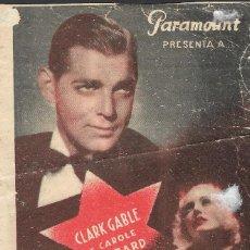 Cine: PROGRAMA DOBLE - CASADA POR AZAR - CLARK GABLE, CAROLE LOMBARD - PARAMOUNT CINE Y JARDÍN PLUS ULTRA. Lote 171091775