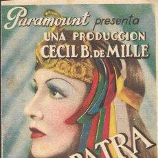 Cine: PROGRAMA DOBLE - CLEOPATRA - CLAUDETTE COLBERT - CECIL B. DE MILLE - PLAZA DE TOROS (ALGECIRAS). Lote 171092458