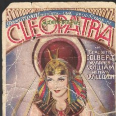 Cine: PROGRAMA EN CARTÓN - CLEOPATRA - CLAUDETTE COLBERT - CECIL B. DE MILLE - PARAMOUNT - MONUMENTAL 1934. Lote 171092959