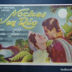 Cine: NOCHES EN RIO 1939 BASIL RATHBONE, VICTOR MCLAGLEN PIE GRAFICAS VALENCIA BIEN CONSERVADO VER FOTO. Lote 171125730