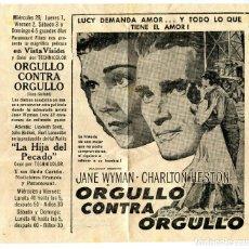 Cine: CUBA TEATROS CAMAGUEY Y CASABLANCA PROGRAMACION -ORGULLO CONTRA ORGULLO- ARTICULO ORIGINAL AÑO 1956. Lote 171138779