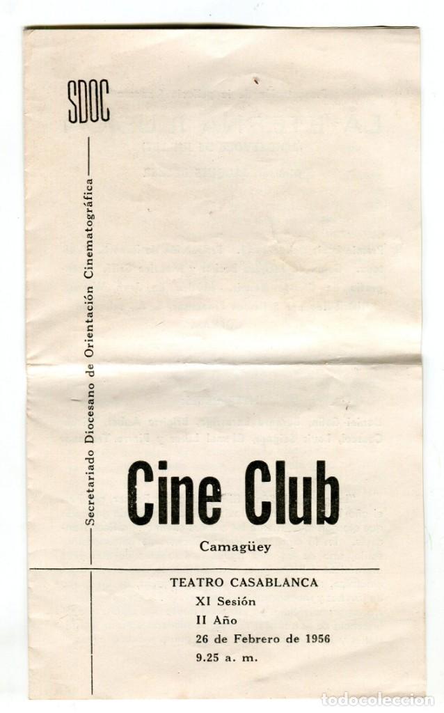 CUBA -CINE CLUB-SECRETARIADO DIOCESANO ORIENTACION CINEMATOGRAFICA-LA ETERNA ILUSION,BECKER- 1956 (Cine - Folletos de Mano - Aventura)