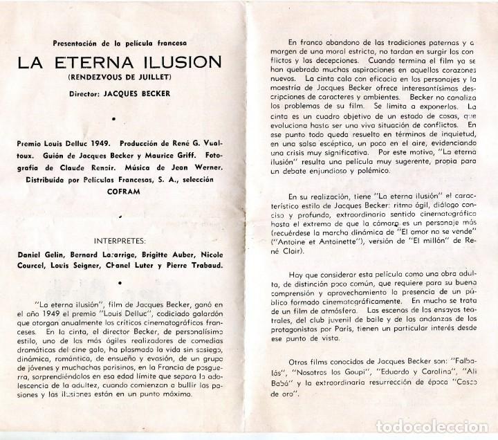 Cine: CUBA -CINE CLUB-SECRETARIADO DIOCESANO ORIENTACION CINEMATOGRAFICA-LA ETERNA ILUSION,BECKER- 1956 - Foto 2 - 171152038