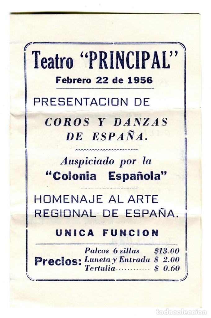 CUBA TEATRO PRINCIPAL PRESENTACION COROS Y DANZAS DE ESPAÑA FORMATO DIPTICO AÑO 1956 (Cine - Folletos de Mano - Aventura)