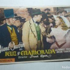 Cine: PROGRAMA FELIZ Y ENAMORADA - DIANA DURBIN PUBLICIDAD. Lote 171206599