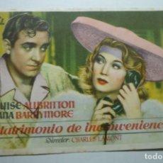 Cine: PROGRAMA MATRIMONIO DE INCINVENIENCIA - LOUISE ALLBRITTON. Lote 171206692