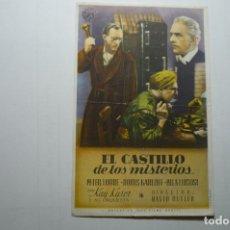 Cine: PROGRAMA EL CASTILLO DE LOS MISTERIOS - BORIS KARLOFF--PUBLICIDAD NUEVA ESPAÑA -SEO URGEL . Lote 171206750