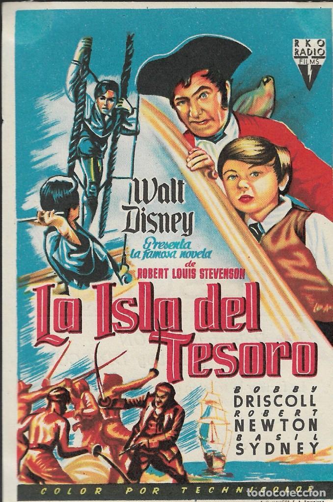 PROGRAMA DE CINE - LA ISLA DEL TESORO - ROBERT NEWTON - WALT DISNEY - CINE ALAMEDA (MÁLAGA) - 1950. (Cine - Folletos de Mano - Infantil)
